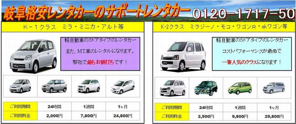 レンタカー表